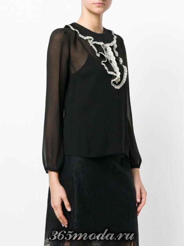 черная жатая блузка из шифона