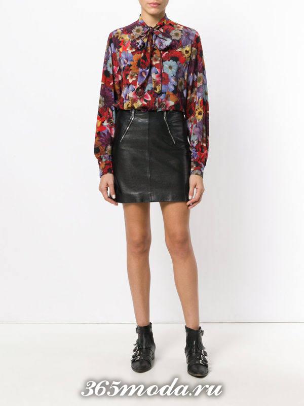 блузка из шифона с бантом с цветочным принтом