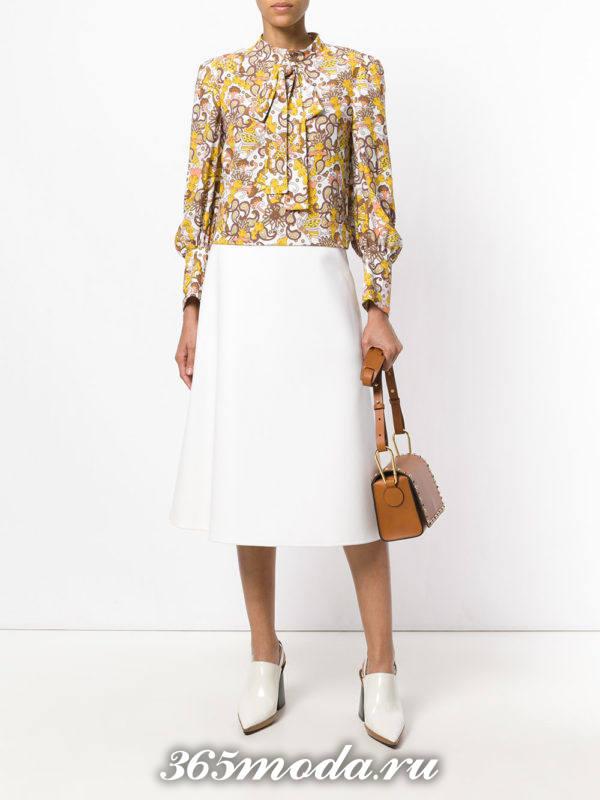 блузка из шифона с бантом цветная