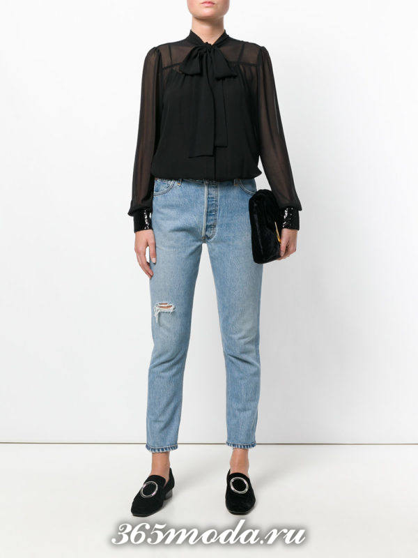 черная блузка из шифона с бантом