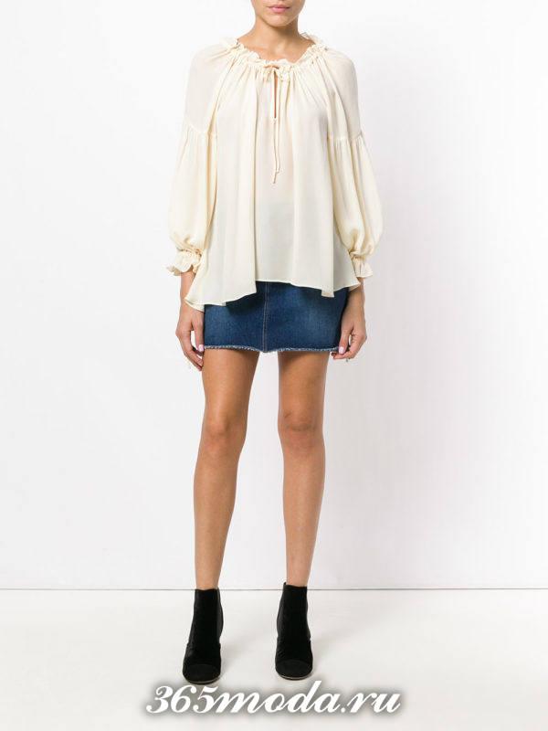 блузка из шифона свободного кроя белая
