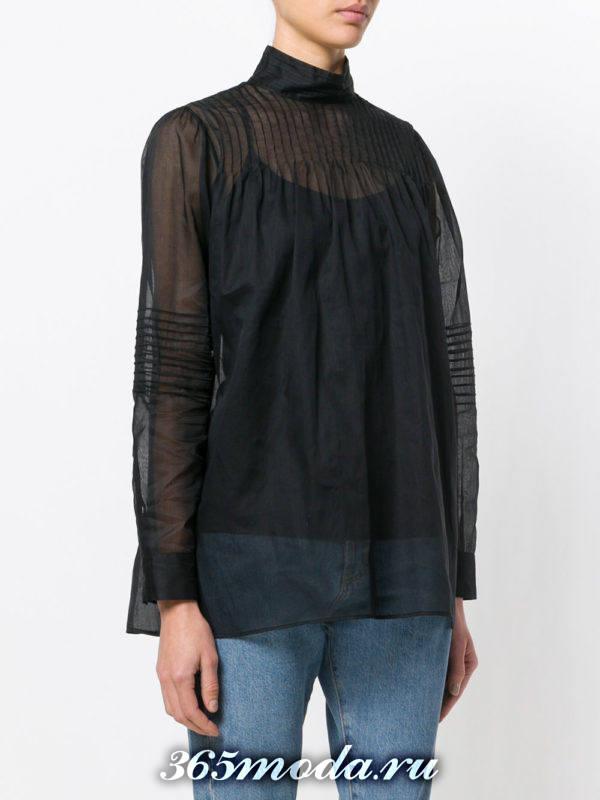 жатая блузка из шифона темная
