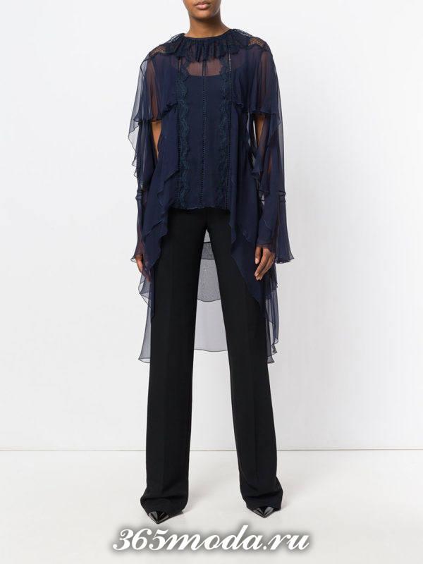 блузка из шифона свободного кроя синяя длинная