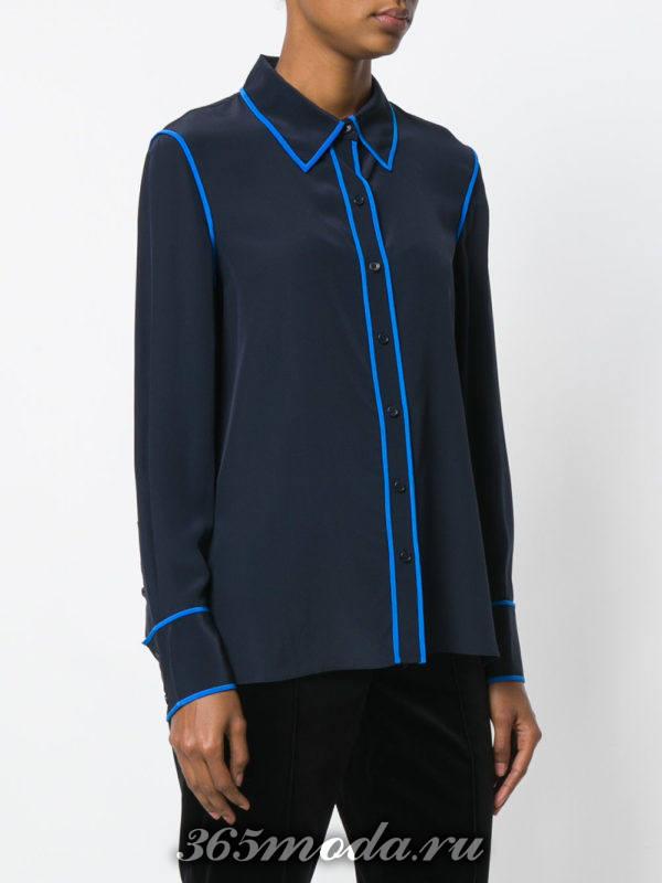 блузка из шифона в бельевом стиле синяя