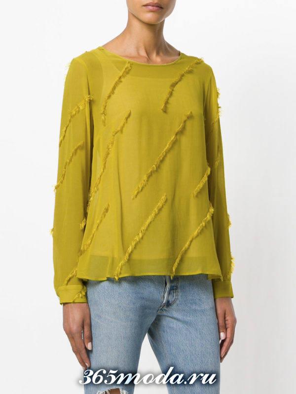 блузка из шифона с длинными рукавами зеленая с бахромой