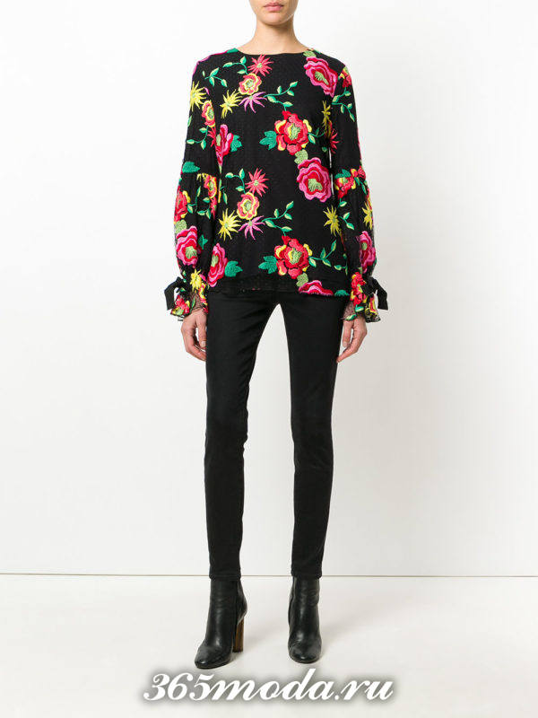 блузка из шифона с длинными рукавами с принтом