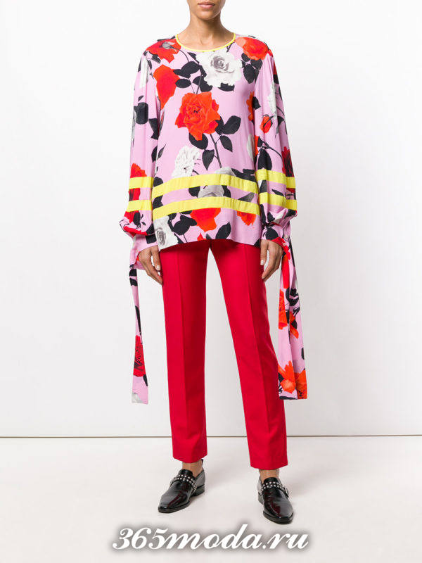 блузка из шифона с длинными рукавами полосками и принтом