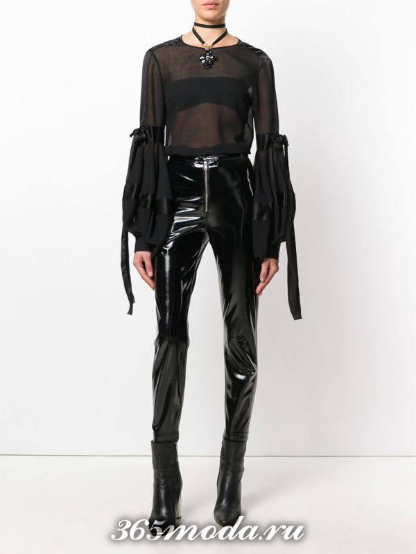 черная блузка из шифона с длинными рукавами фонариками