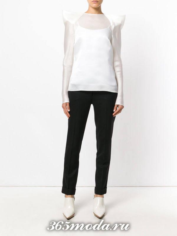 блузка из шифона с длинными рукавами белая