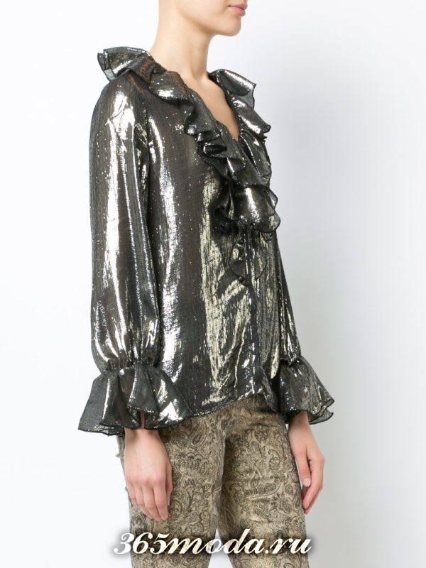блузка из шифона с длинными рукавами металлик с рюшами