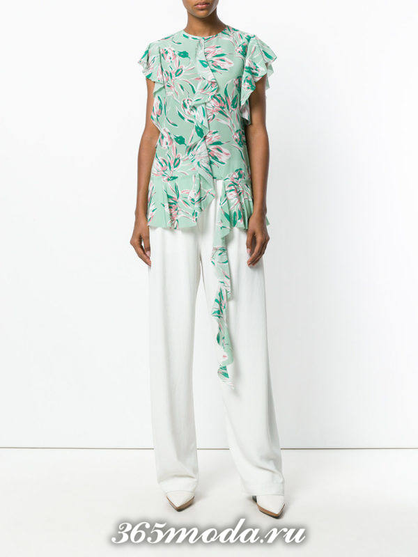 блузка из шифона с короткими рукавами бирюзовая с рюшами