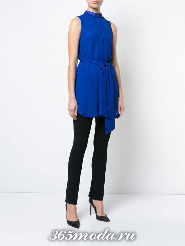 блузка из шифона с короткими рукавами синяя с поясом
