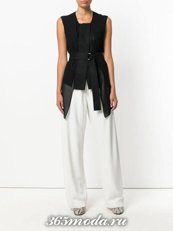 блузка из шифона с короткими рукавами черная с поясом
