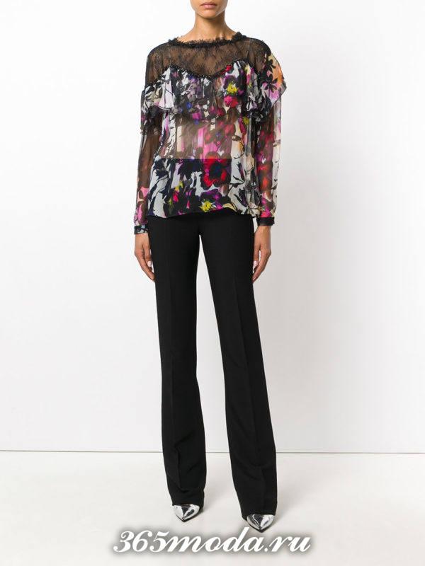 блузка с принтом из шифона с воланами
