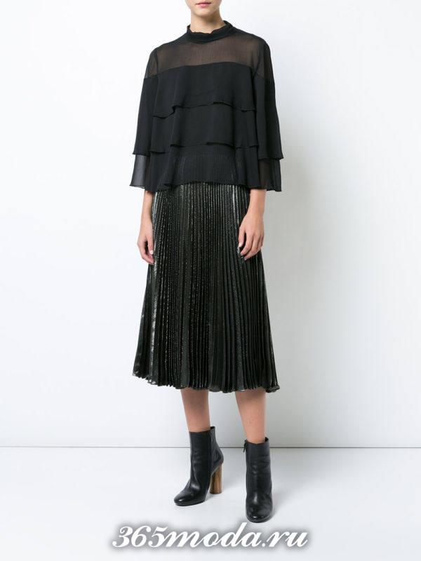 блузка из шифона с воланами темная