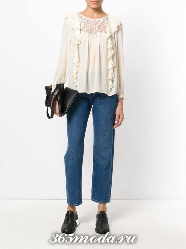 блузка из шифона с воланами белая