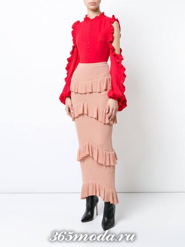 блузка из шифона красная с воланами на рукавах