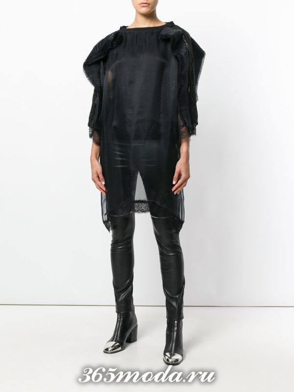 блузка из шифона с воланами длинная черная