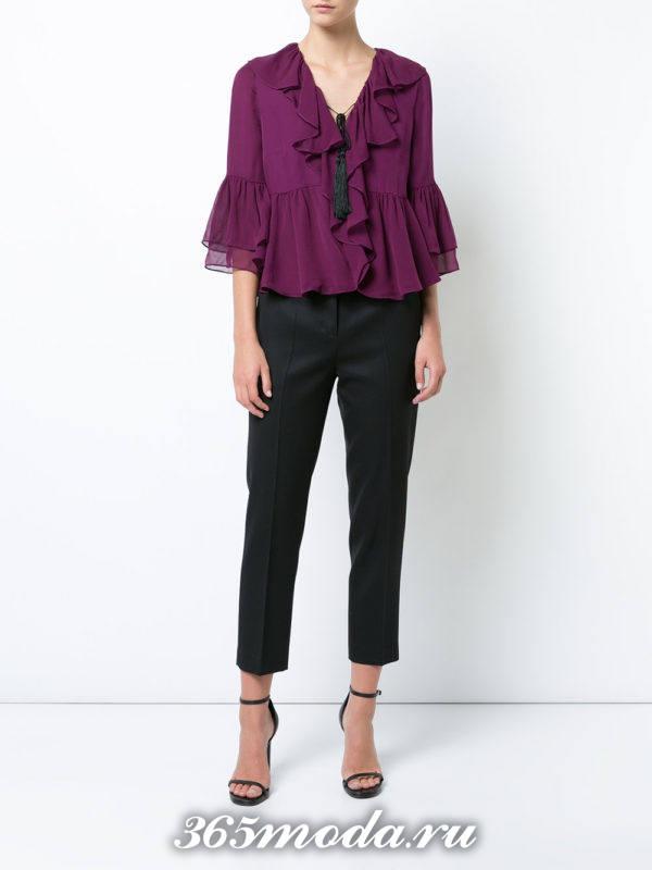 блузка из шифона с баской фиолетовая с бантом