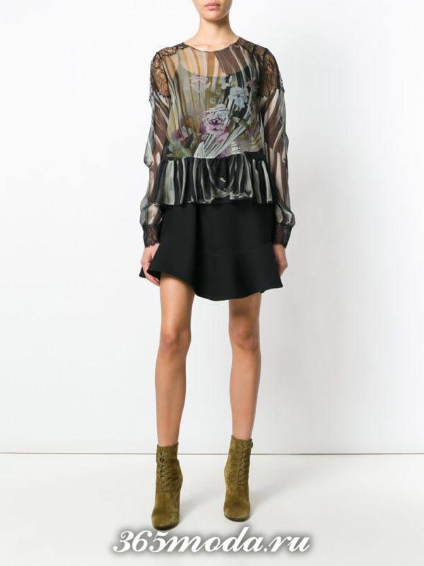блузка из шифона с баской темная