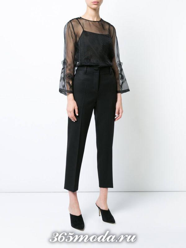 блузки из шифона в бельевом стиле черная