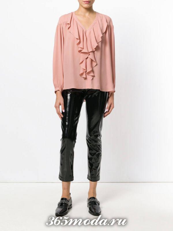 шифоновая блузка розовая с оборками
