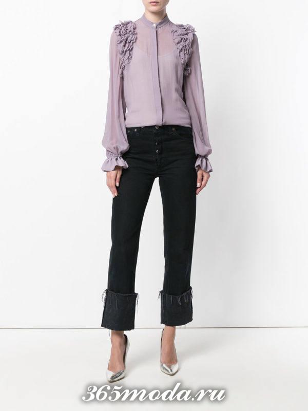 модная шифоновая блузка фиолетовая