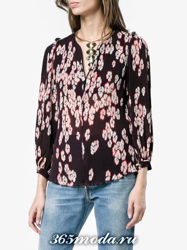 жатая блузка из шифона с цветочным принтом