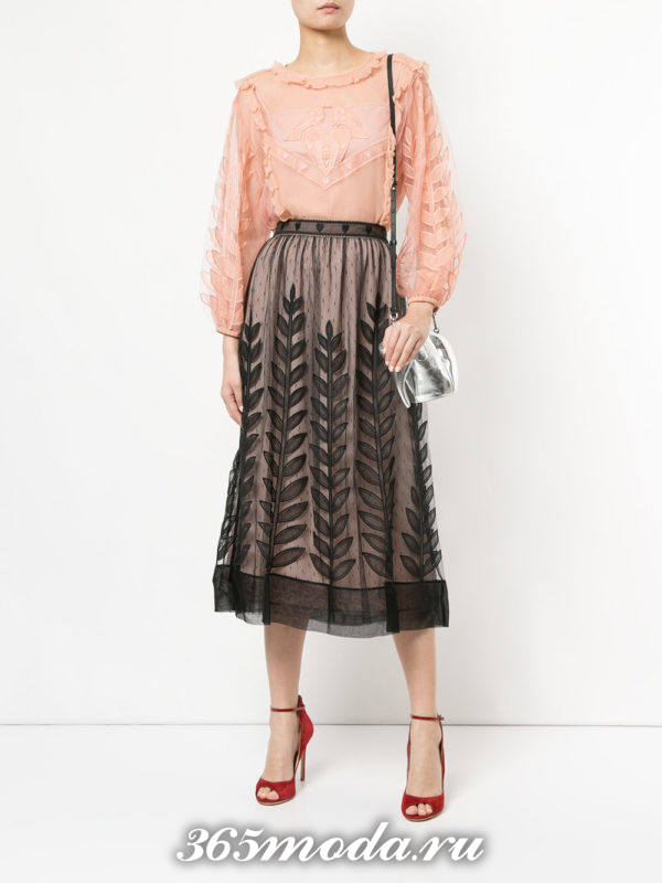 модная розовая шифоновая блузка