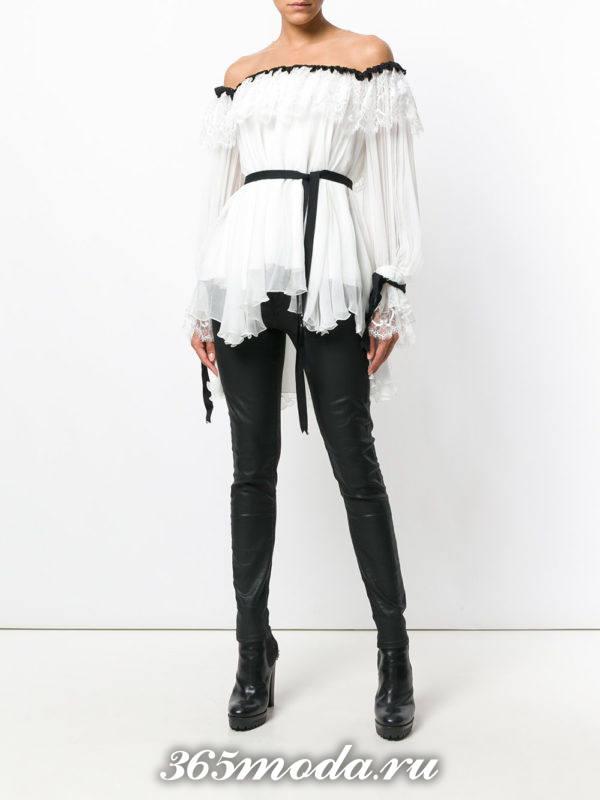 модная белая шифоновая блузка