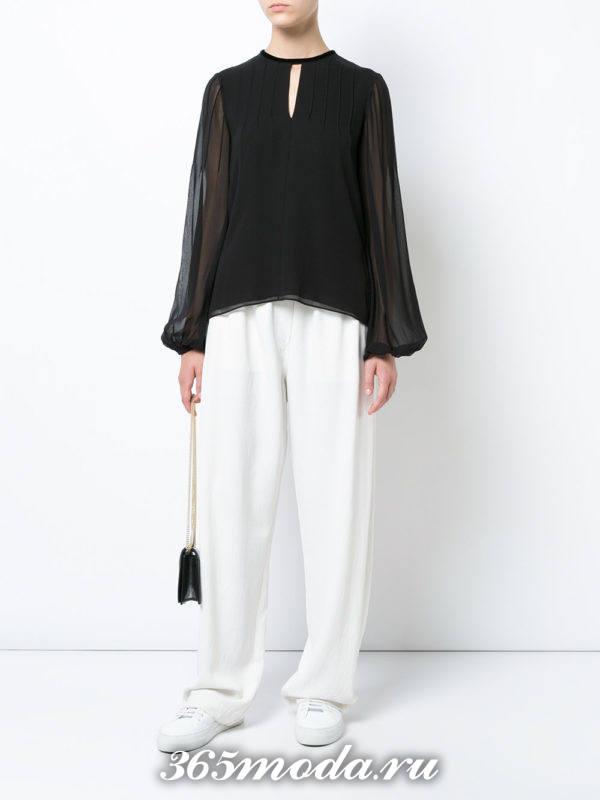 модная черная шифоновая блузка