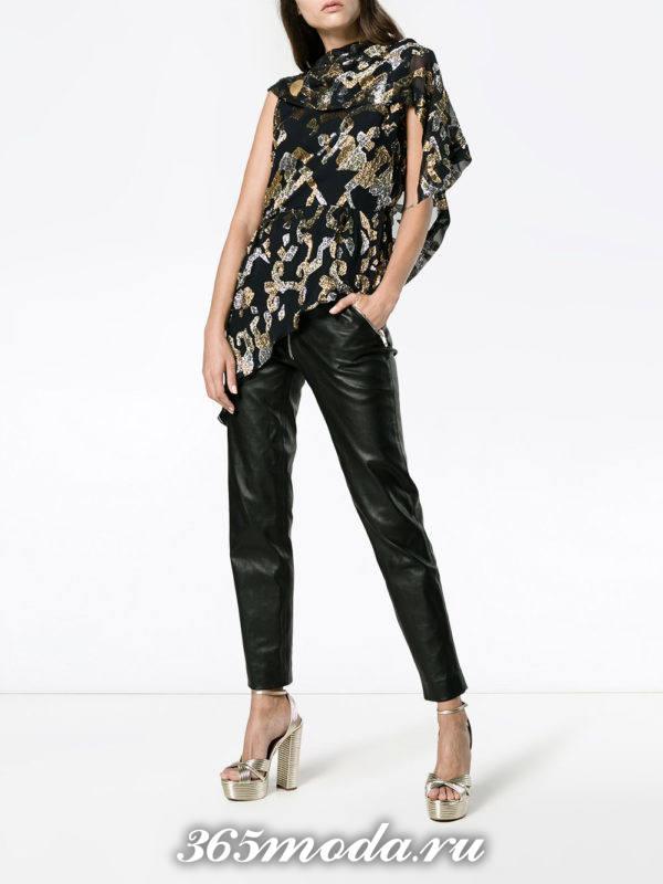 шифоновая блузка с кожаными брюками
