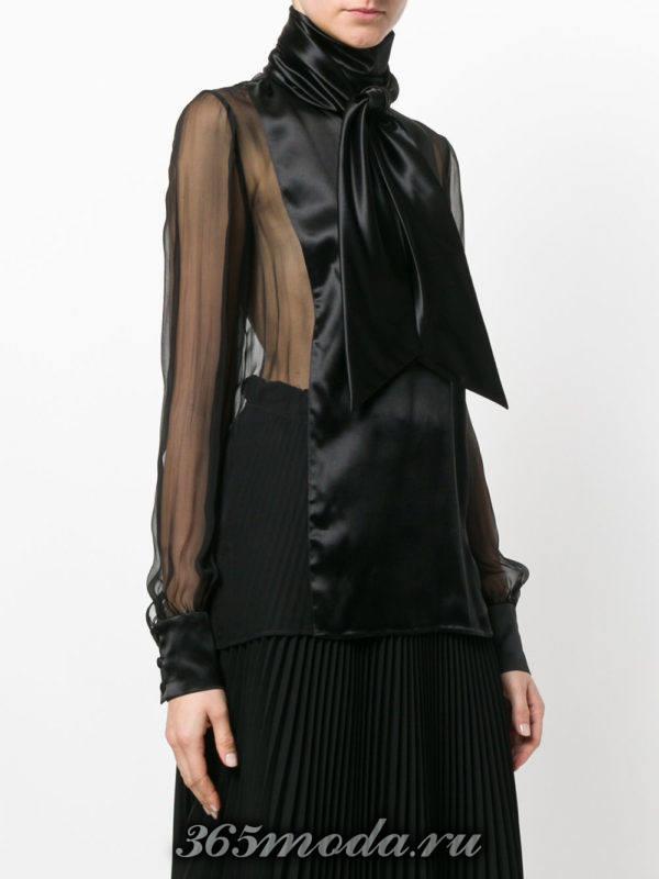 блузка из шифона с бантом черная
