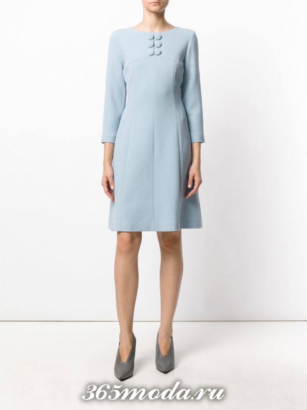 голубое платье с декором осень-зима