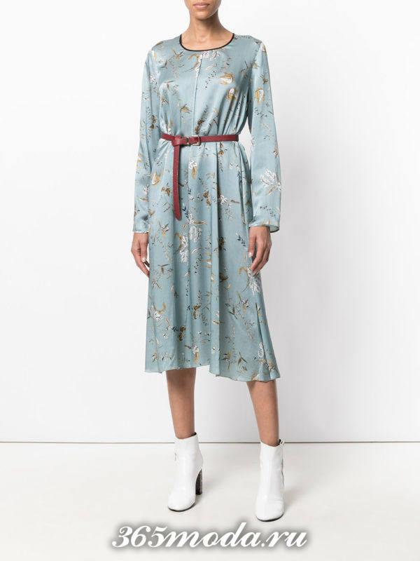 голубое платье с принтом осень-зима