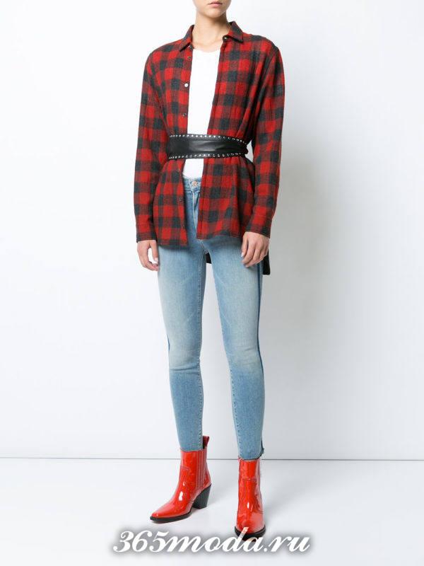 голубые джинсы скинни осень-зима