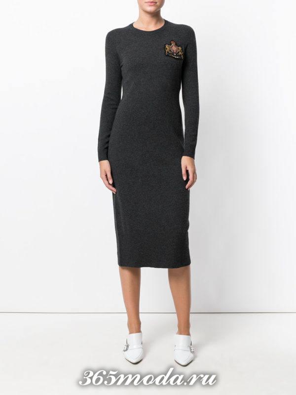 серое платье осень-зима