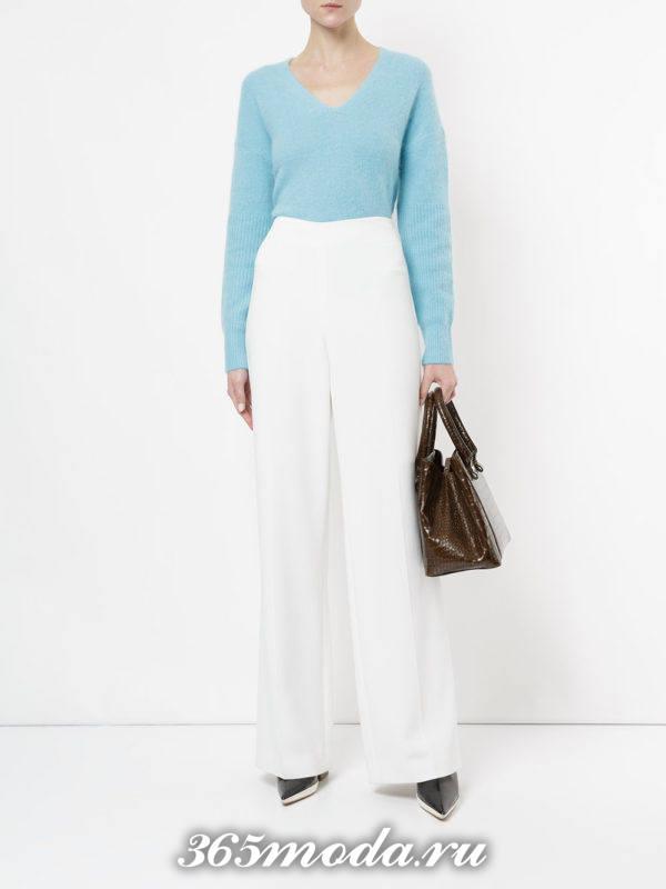 голубой свитер осень-зима