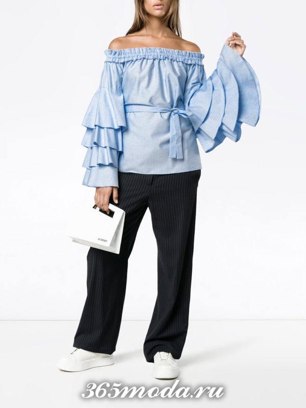 голубой блуза с воланами осень-зима