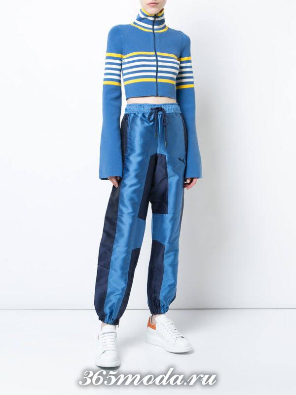 голубой комплект с полосками осень-зима