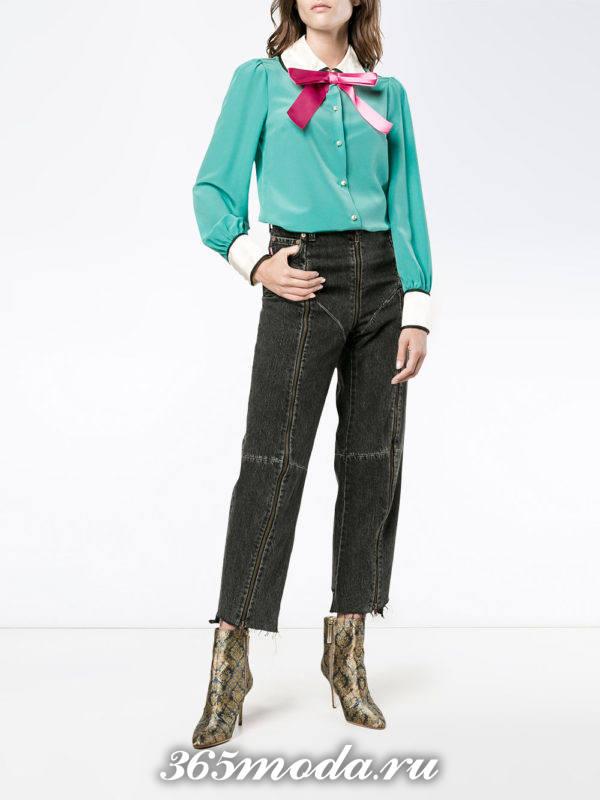 зеленая блуза с воротником осень-зима