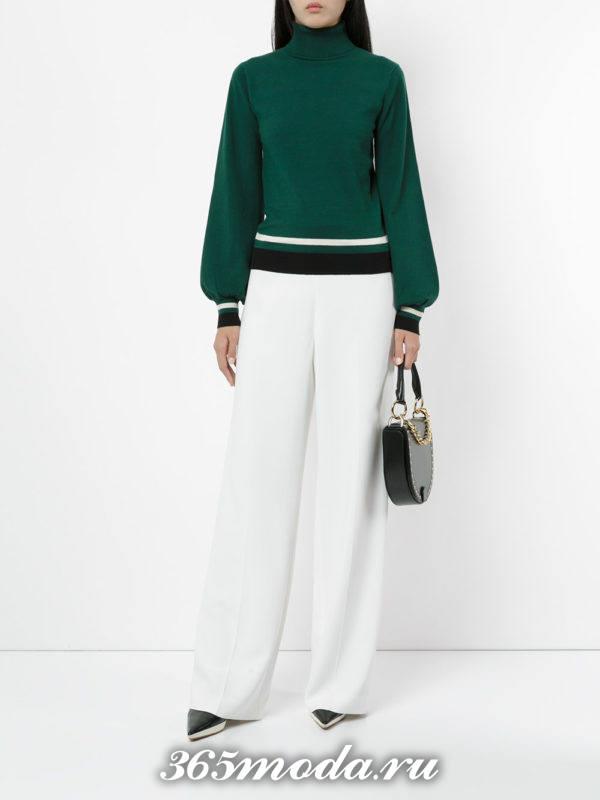 зеленый свитер с полосками осень-зима