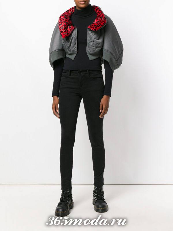серая короткая куртка осень-зима