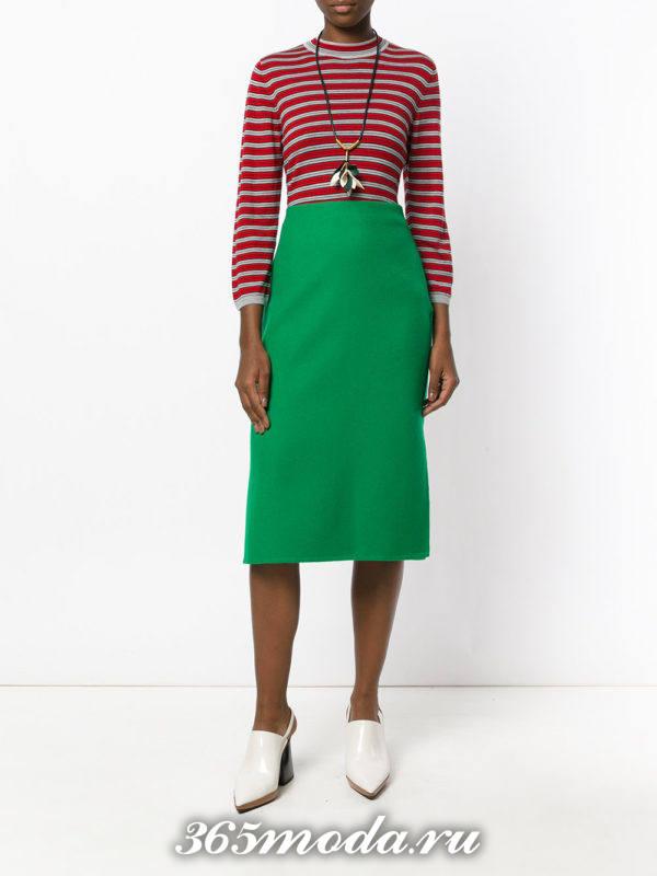 зеленая юбка карандаш осень-зима