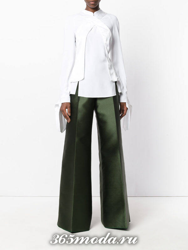 зеленые брюки клеш осень-зима