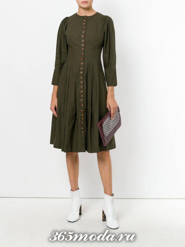 зеленое платье клеш осень-зима