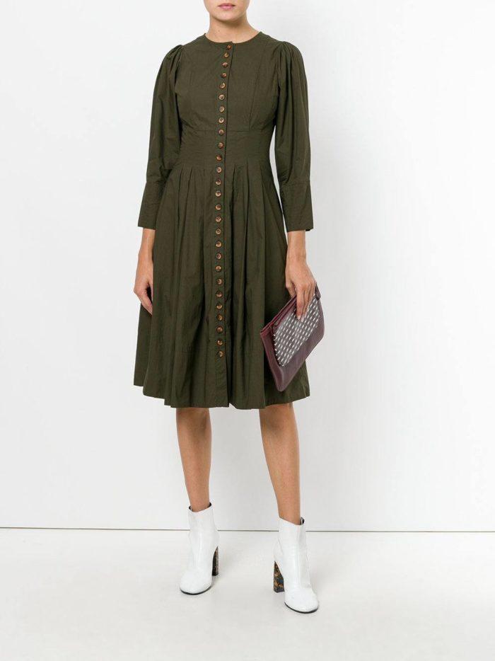зеленое платье клеш