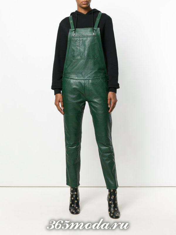 зеленый кожаный комбенизон осень-зима