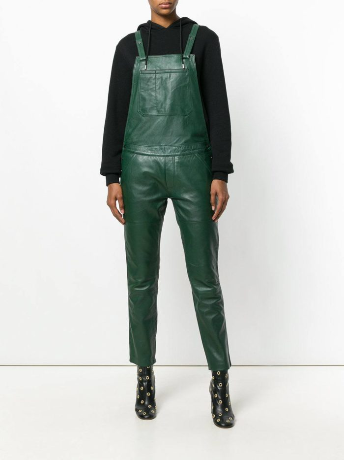 зеленый кожаный комбинезон