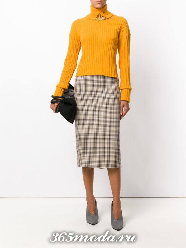 горчичный свитер осень-зима
